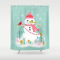 Holiday Snowman by Andrea Lauren  Shower Curtain