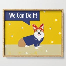 Corgi Rosie - Rosie the riveter, dog, dogs, dog costume, cute dog Serving Tray