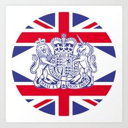 UK coat of arms and flag Art Print