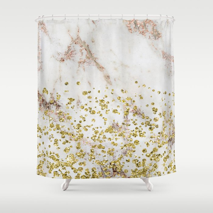 Artico Golden Confetti Shower Curtain By Marbleco