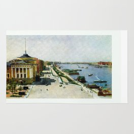 Saint Petersburg Russia Neva river and Admiralty Rug