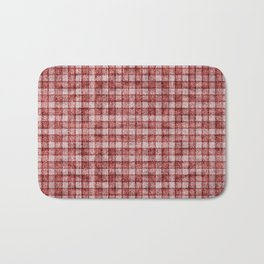 Rusty Red Gingham Faux Terry Toweling Bath Mat