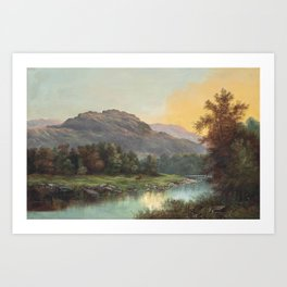 A Deer at the Edge of a Highland Stream nature landscape painting by William Henry Millais Art Print