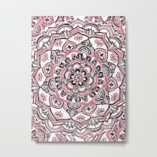 Magical Mandala in Monochrome + Pink Metal Print