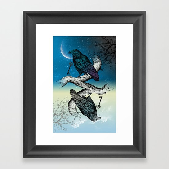 Raven's Key Night+Day Framed Art Print