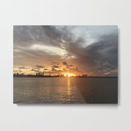 Sunset in Miami with cloudy sky and calm sea Metal Print