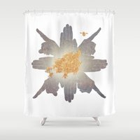 compass Shower Curtains featuring Compass by Rhea Ewing