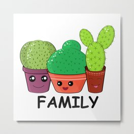 Hilarious family of cacti. Baby and kids style Metal Print