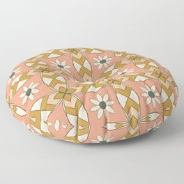 Bold Midcentury Tile Pink Floor Pillow