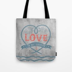 Maritime Design- Love is my anchor on grey abstract background Tote Bag