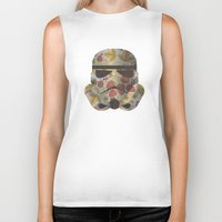 trooper Biker Tanks featuring STRAWBEЯRY TROOPER by Beardy Graphics