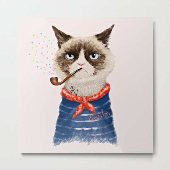 Sailor Cat V Metal Print