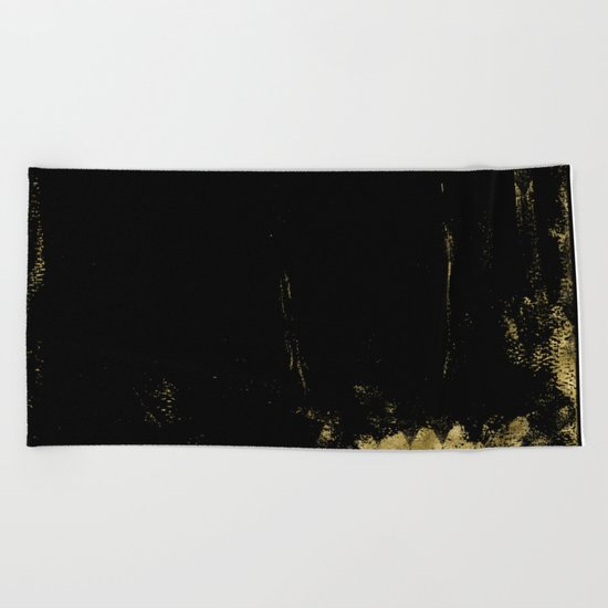 Black and Gold grunge modern abstract backround I Beach Towel