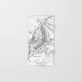 Brasilia Map White Hand & Bath Towel