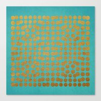 gold dots Canvas Prints featuring Gold Dots on Turquoise by Sandra Arduini