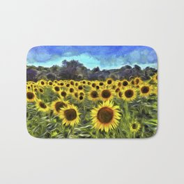 Sunflower Fields Of Summer  Van Goth Bath Mat