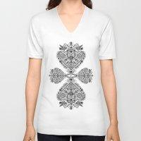 folk V-neck T-shirts featuring Folk heart by Dávid Kurňavka