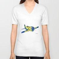 airplane V-neck T-shirts featuring Airplane by Irina  Mushkar'ova