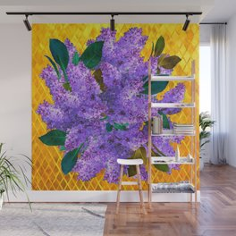Spring Lilac Floral Bouquet Gold Patterns Wall Mural