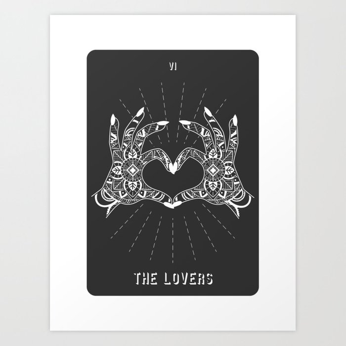 Minimal Tarot Deck The Lovers Art Print