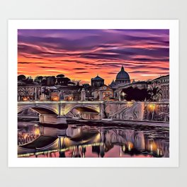 City Sunset Airbrush Artwork Art Print
