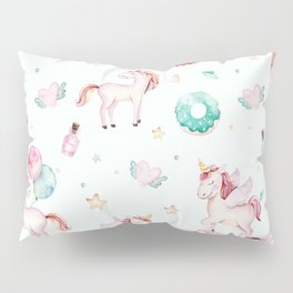 Magical pink teal watercolor mystical typography unicorn Pillow Sham