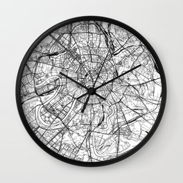 Moscow White Map Wall Clock