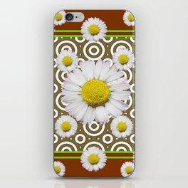 Modern Coffee Brown Deco Style Shasta Daisies Art iPhone Skin