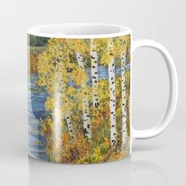 Autumn in the Mountains, Fall Decor, Aspen Birch Tree Painting Coffee Mug