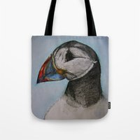 puffin Tote Bags featuring Puffin by Hannah Jane Walker