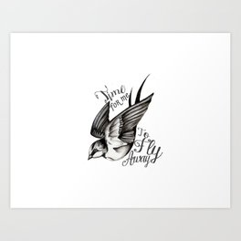 Time to fly away little Swallow Art Print