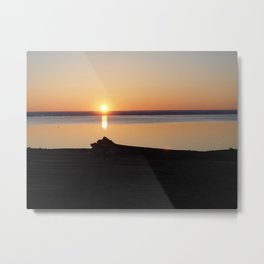 Hay River Sunset Metal Print