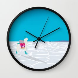 Bolivia Salt Flats Travel Poster Wall Clock