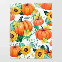 Pumpkins and Sunflowers with moths, watercolor botanical Poster