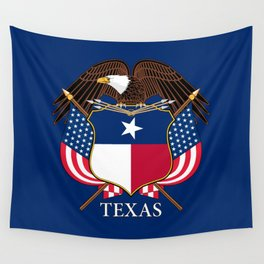 Texas flag and eagle crest concept Wall Tapestry