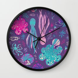 Cephalopods Ultra Violet Wall Clock