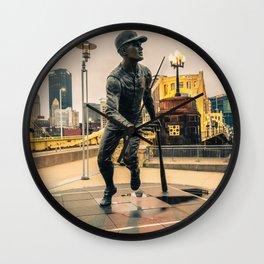 Pittsburgh Baseball Roberto Clemente Statue Print Wall Clock