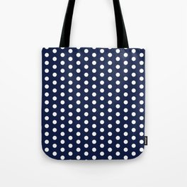 Navy Blue Polka Dots Minimal Tote Bag