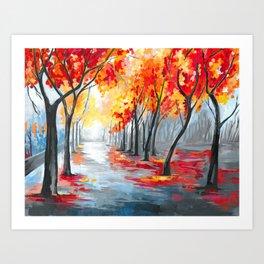 Fall / Autumn Landscape - Rainy Tree, Changing Leaves Painting Art Print