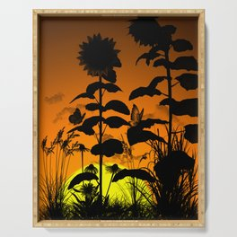 Sunflower in sunset Serving Tray