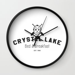 Crystal Lake Bed and Breakfast, Former Camp Crystal, Est.1980, Design for Wall Art, Posters, Tshirts, Men, Women, Kids Wall Clock