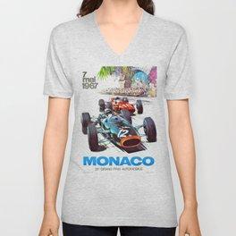 1967 Monaco Grand Prix Racing Poster Unisex V-Neck