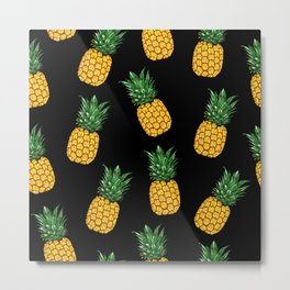 Pineapple Black Metal Print