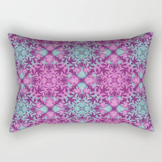 Blue pink floral pattern Rectangular Pillow