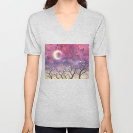 chickadees and io moths in the moonlit sky Unisex V-Neck
