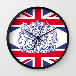 UK coat of arms and flag Wall Clock
