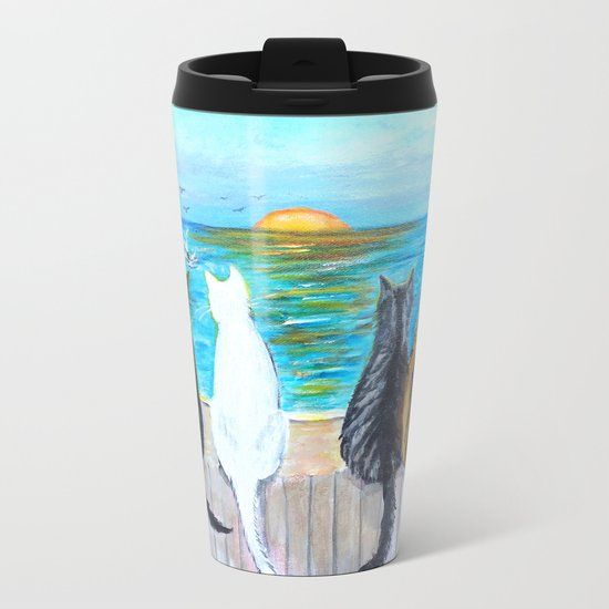 Cat Beach Sunset Metal Travel Mug