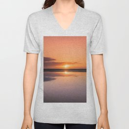 Mindfulness in the Sunrise Reflection at Mediterranean Sea in Valencia, Spain Unisex V-Neck