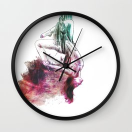 flying colors 01 // aerial. yoga. love. Wall Clock