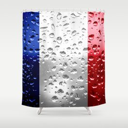 Flag of France - Raindrops Shower Curtain